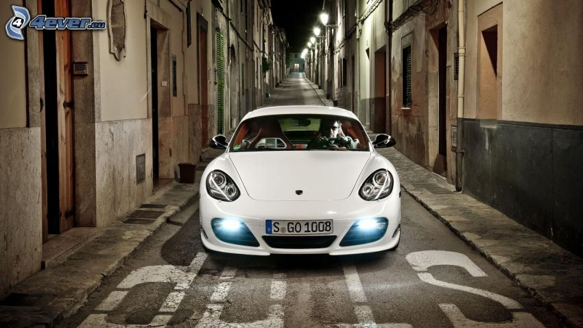 Porsche, calle, casas, stop