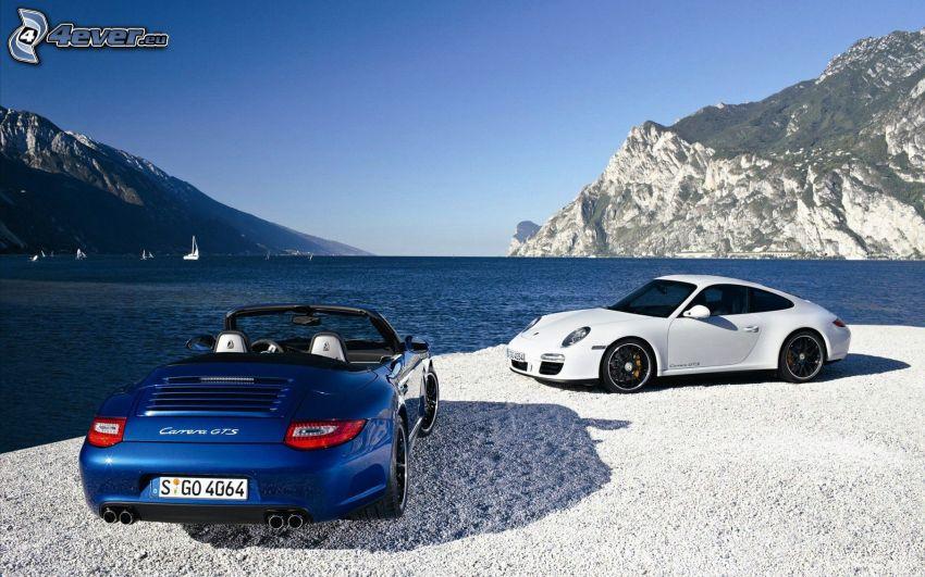 Porsche 911, lago, rocas