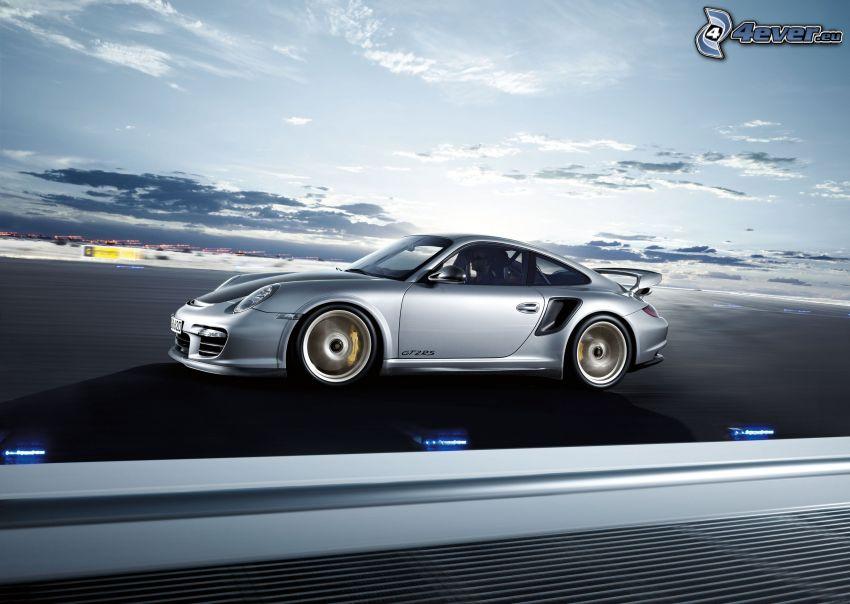 Porsche 911 GT2, acelerar, puesta del sol