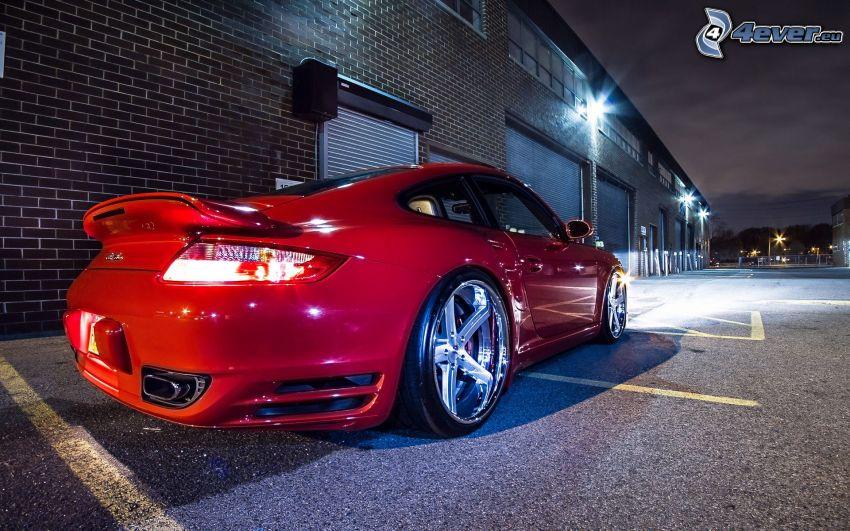 Porsche 911 Turbo, garaje, ciudad de noche