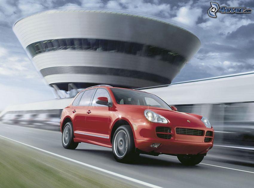 Porsche Cayenne, SUV, acelerar, Edificio moderno