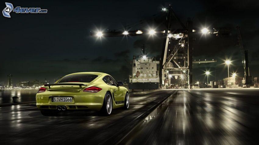 Porsche Cayman, acelerar, noche, iluminación