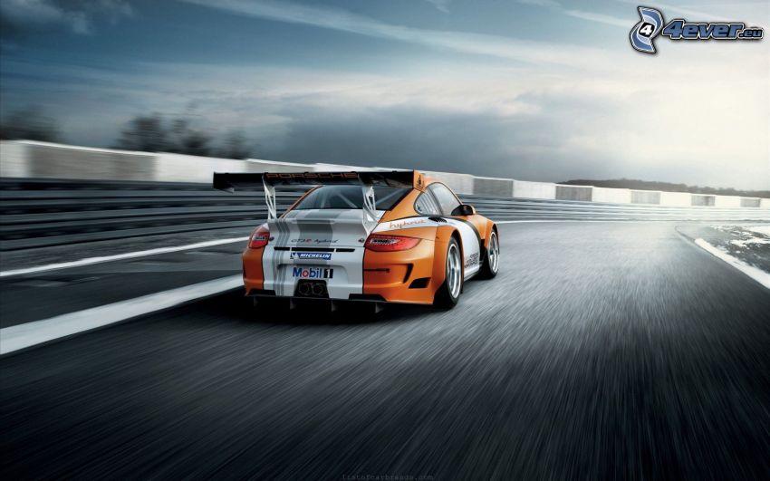 Porsche GT3R, acelerar, carreras en circuito