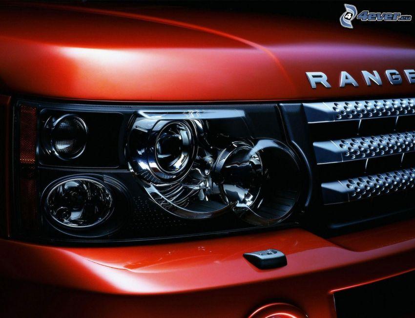 Range Rover, faro delantero, delantera de coche