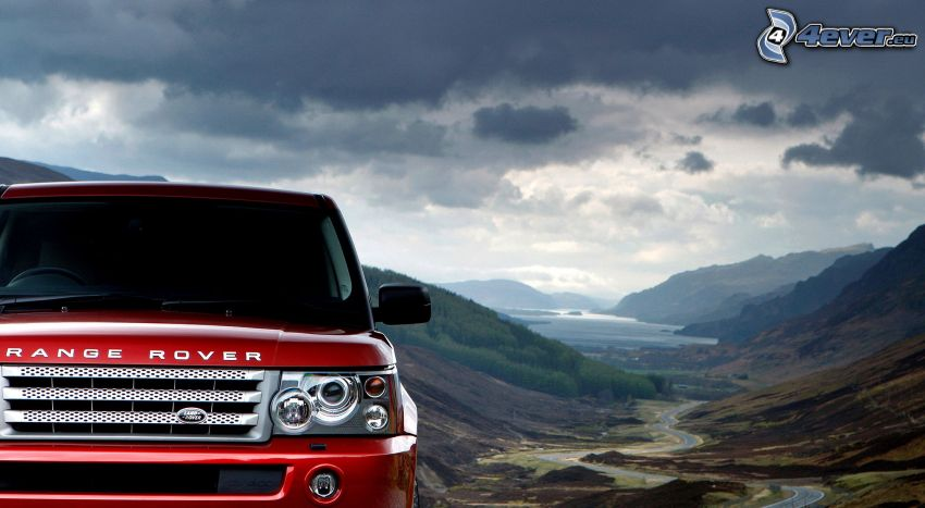 Range Rover, valle, nubes