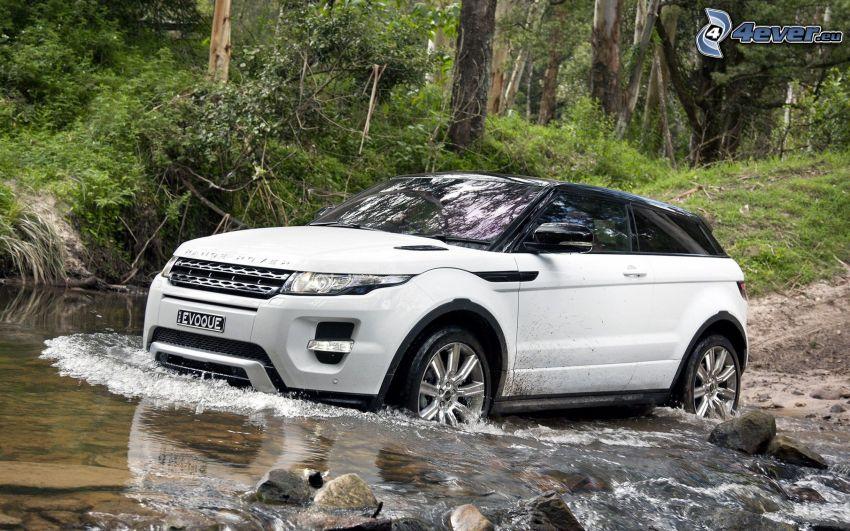 Range Rover Evoque, agua, naturaleza