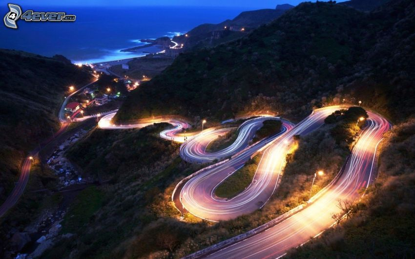 serpentinas, carretera de noche, luces, colina