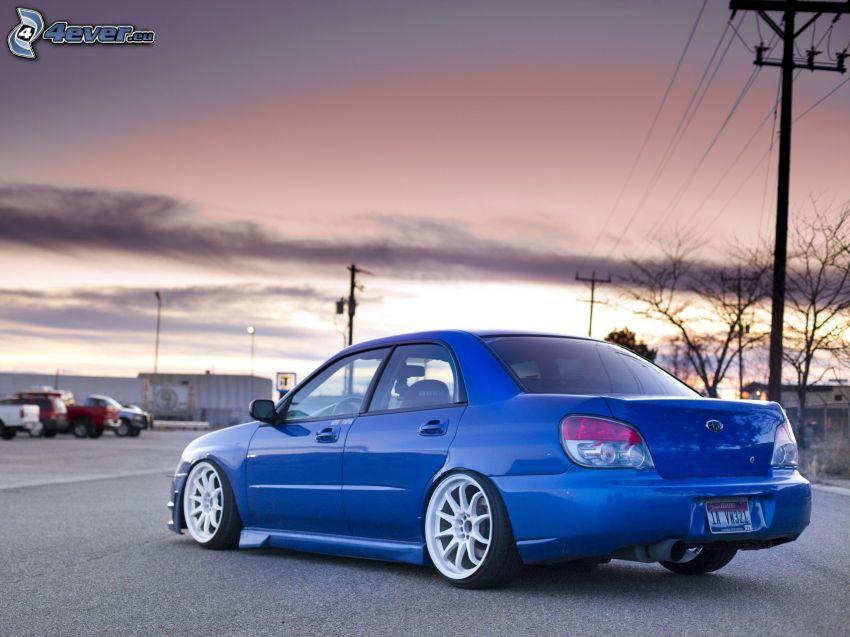 Subaru Impreza WRX STi, lowrider, alambrado
