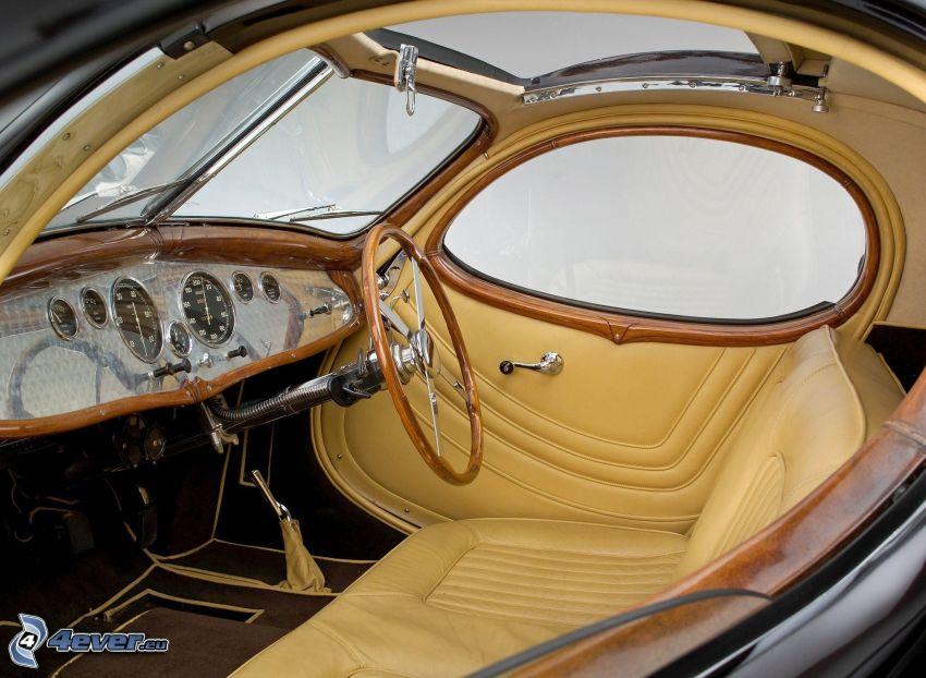 Talbot Lago T150 C, veterano, interior, volante, asiento