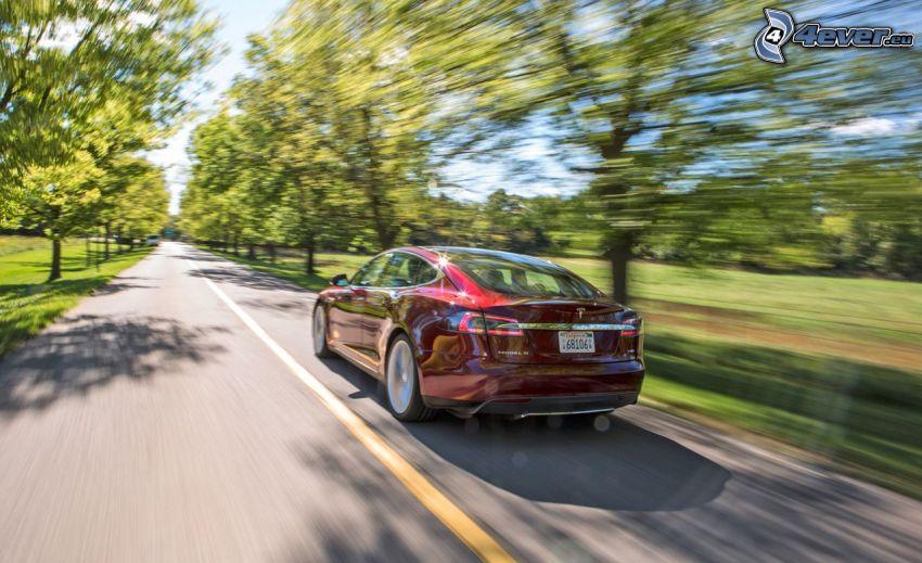 Tesla Model S, acelerar, camino recto, arboleda