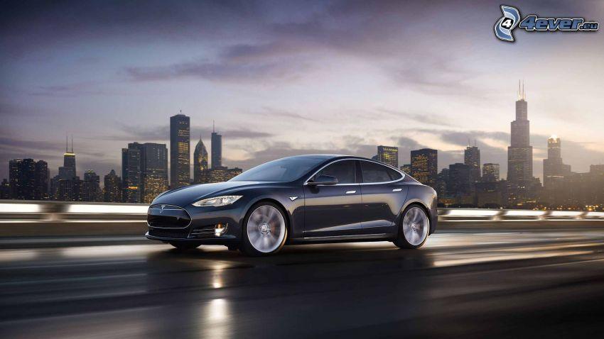 Tesla Model S, ciudad grande, ciudad de noche, acelerar, Chicago