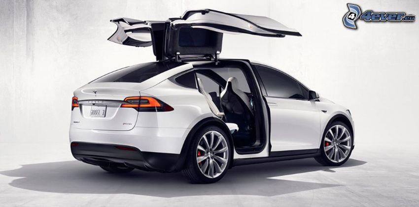 Tesla Model X, puerta, falcon doors
