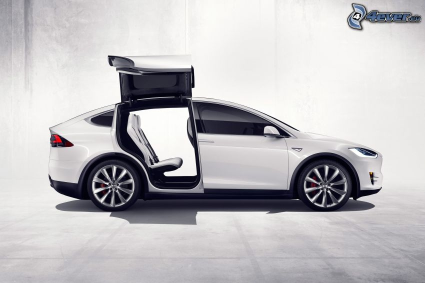 Tesla Model X, puerta, falcon doors