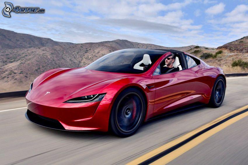 Tesla Roadster 2, descapotable, sierra, acelerar