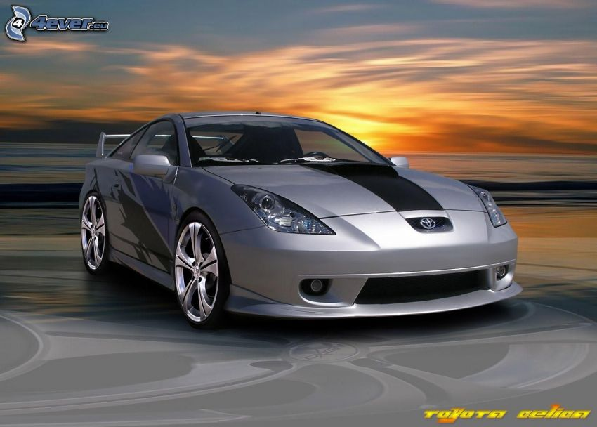 Toyota Celica, acelerar, puesta del sol