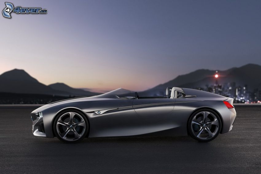 BMW, concepto, descapotable, atardecer