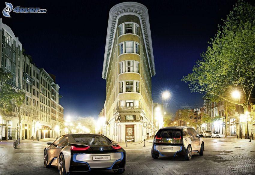 BMW i8, BMW i3, concepto, coche eléctrico, edificio, iluminación, calle
