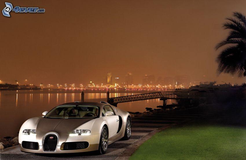 Bugatti Veyron, atardecer, río