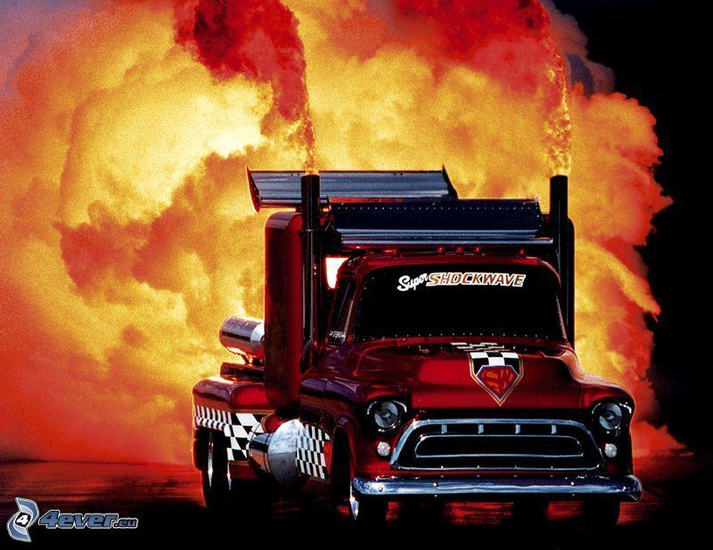 camión, fuego, humo