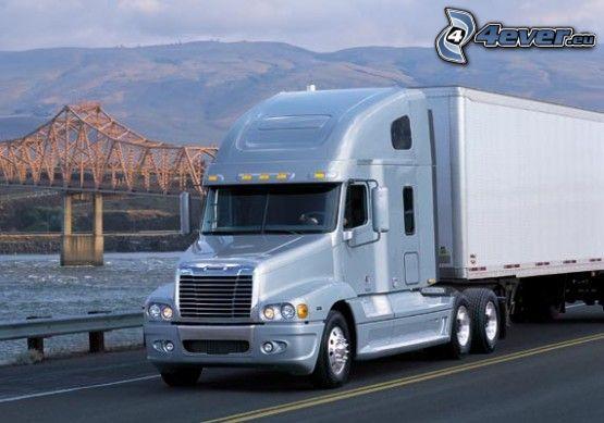 camión, puente