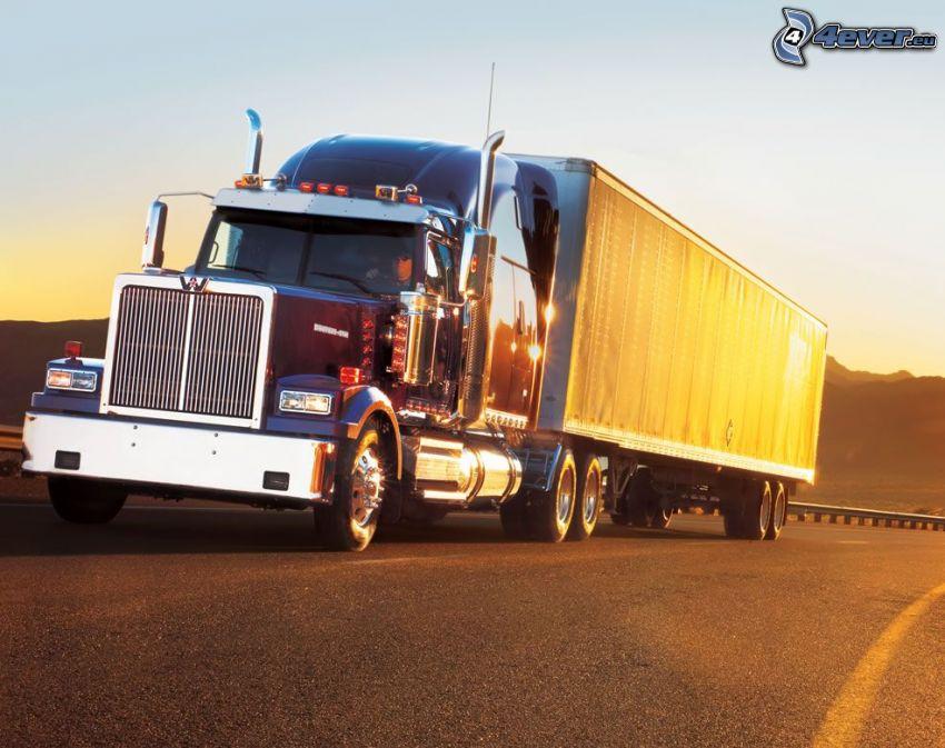 camión, puesta del sol