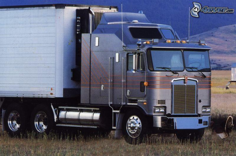 camión, remolque americano