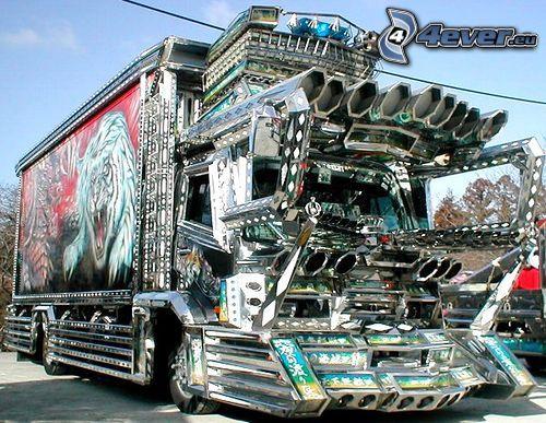 camión, tuning, cromo