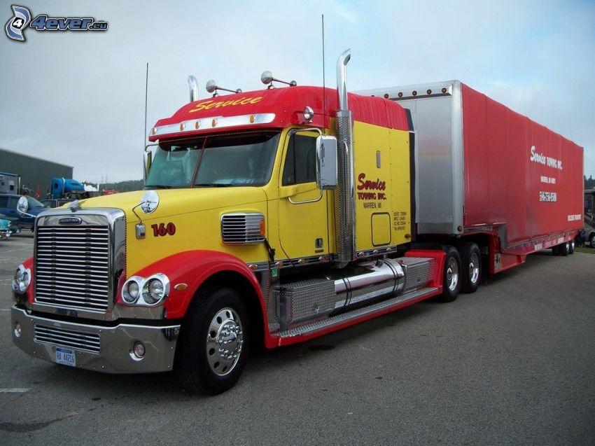 camión grande, remolque americano