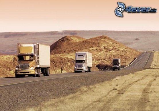 camiones, camino recto