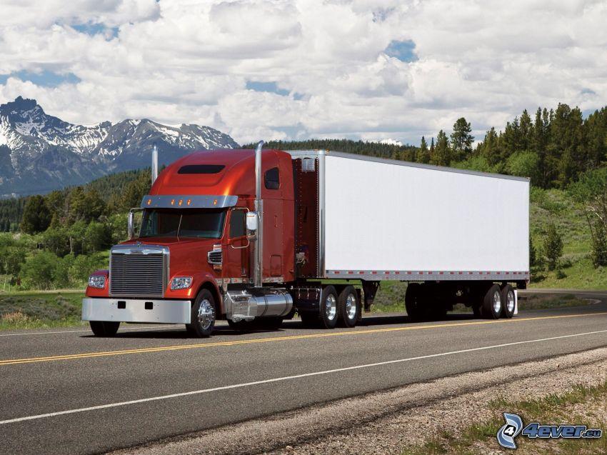Freightliner Coronado, remolque americano, montañas, cielo