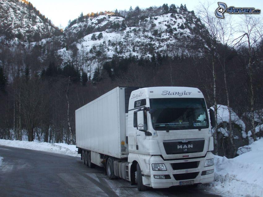 MAN, camión, paisaje de invierno