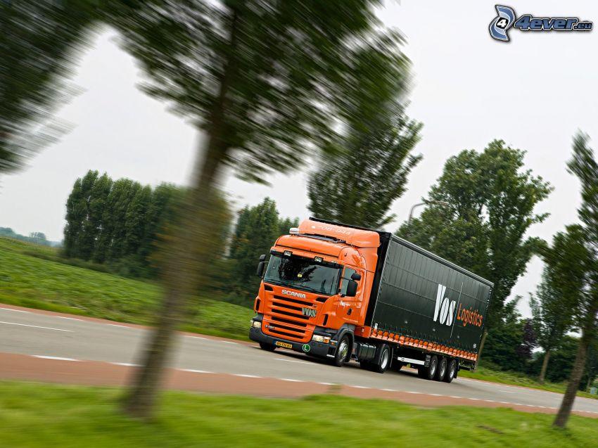 Scania, camión, acelerar, camino