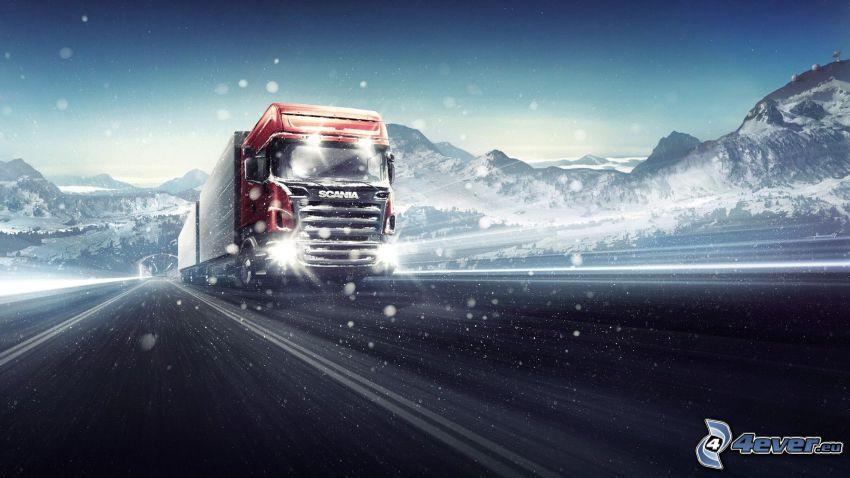 Scania, camión, montañas nevadas