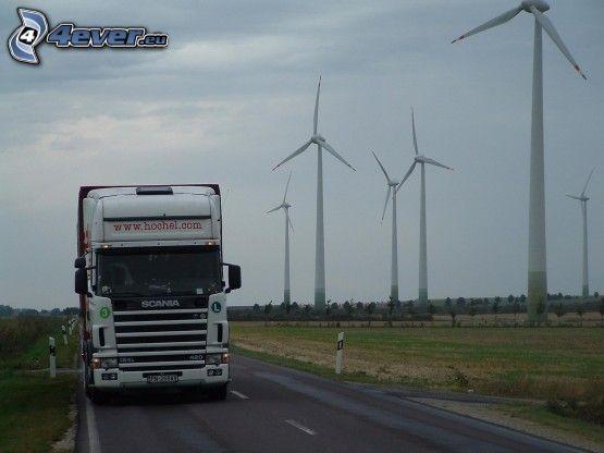 Scania R420, camión, energía eólica