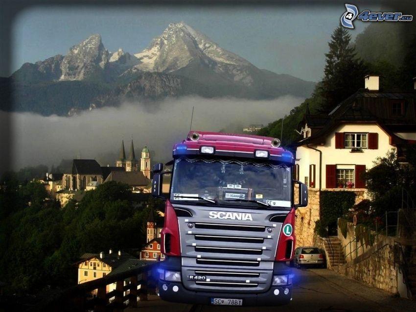 Scania R420, naturaleza, camión