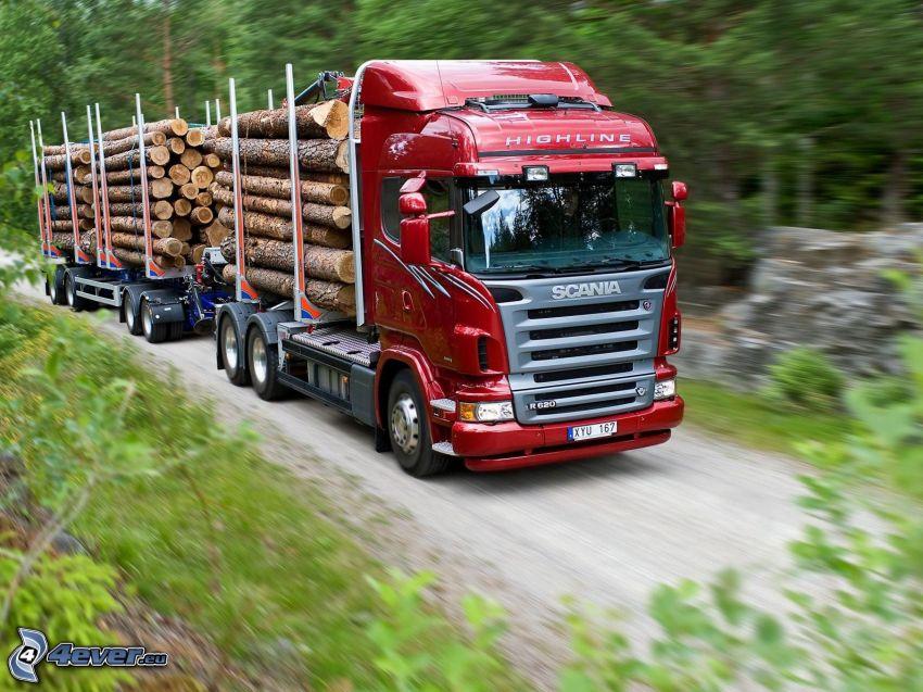 Scania R620, camión con madera