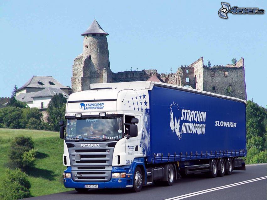 Strachan, Stará Ľubovňa, camión, truck, castillo