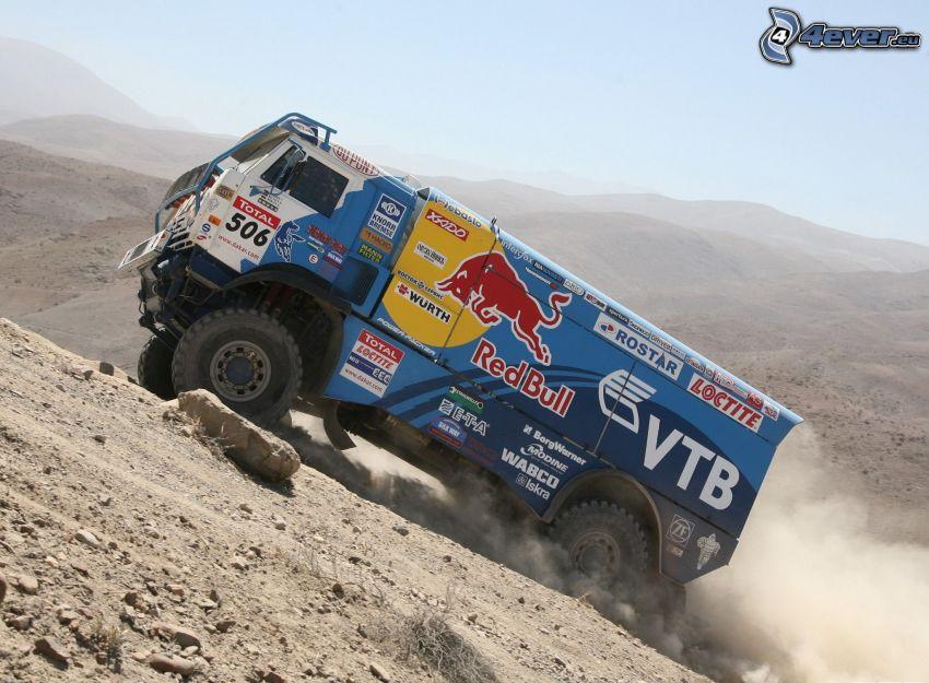 Tatra, camión, colina, polvo, Dakar
