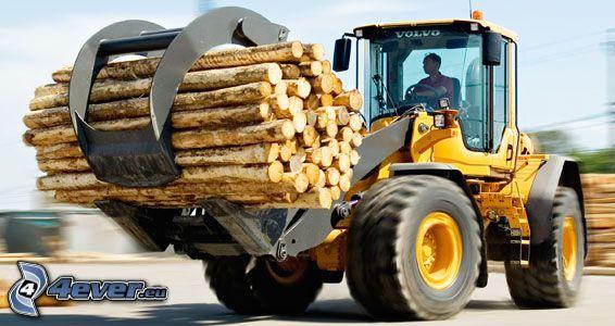 Volvo L90F, tractor, madera