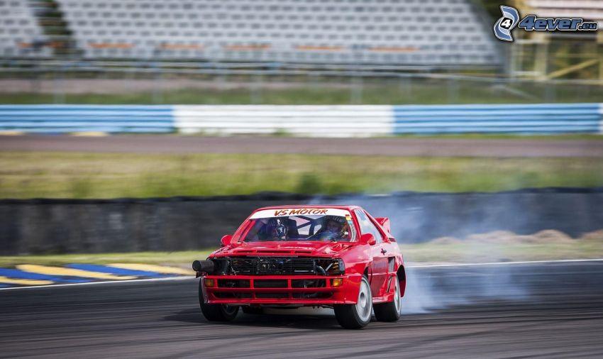 Audi, coche de carreras, drift, humo, carreras en circuito