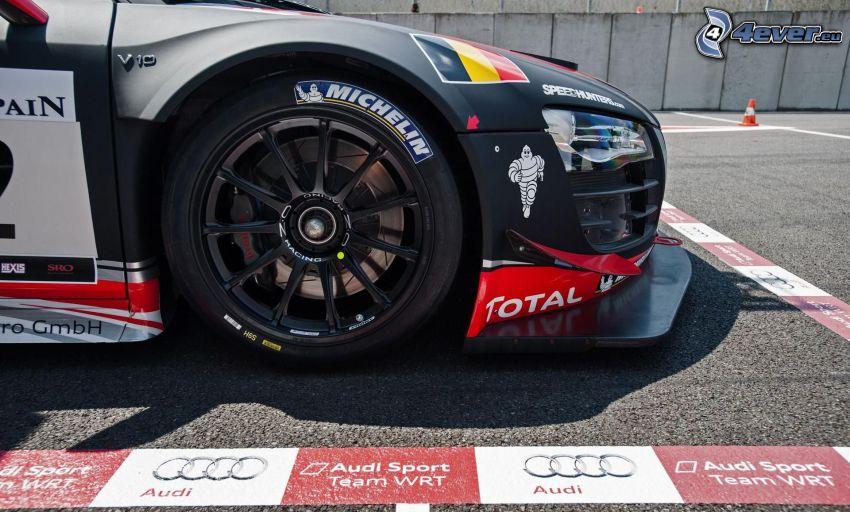 Audi, coche de carreras, rueda