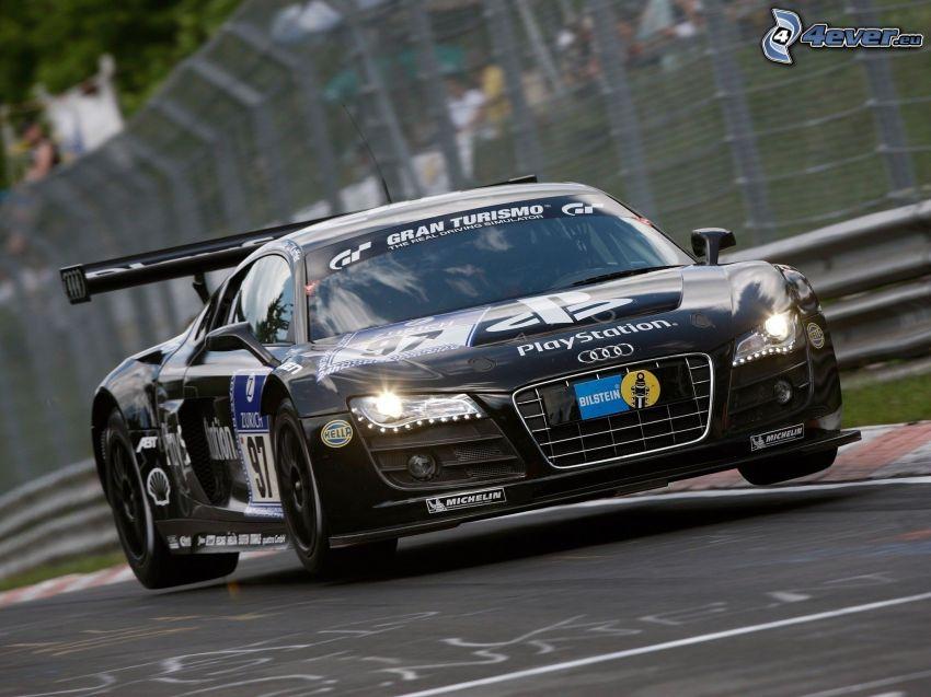 Audi Gran Turismo, coche de carreras, carreras en circuito, acelerar