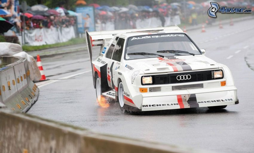 Audi Quattro, coche de carreras, carreras en circuito, carreras