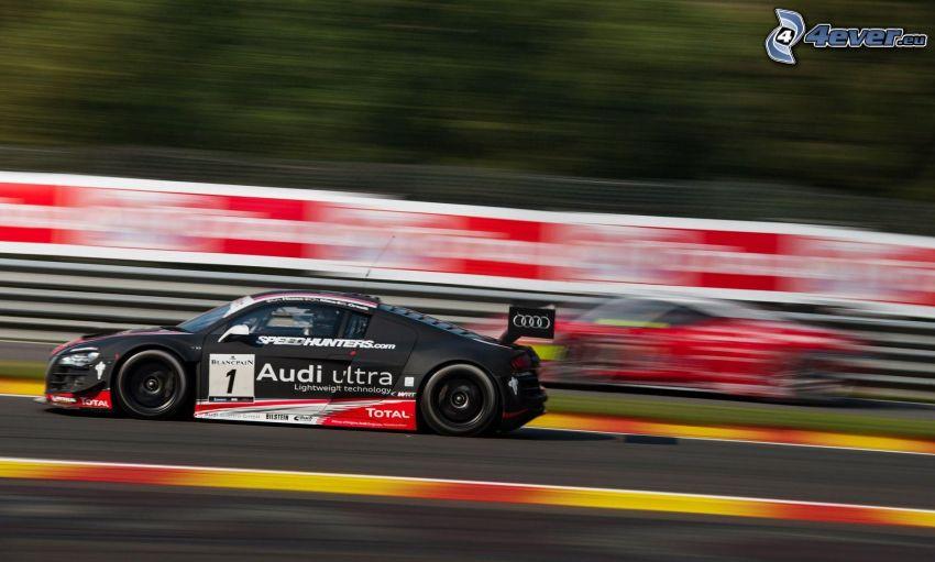 Audi R8, coche de carreras, carreras en circuito, acelerar