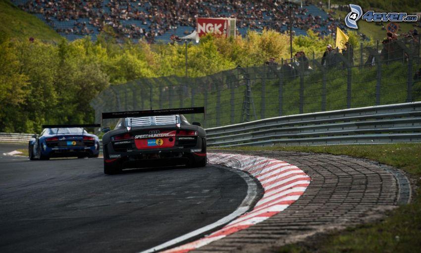 Audi R8, coche de carreras, carreras en circuito
