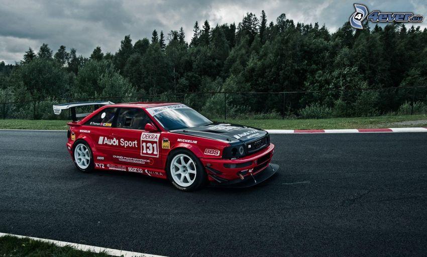 Audi S2, coche de carreras, carreras en circuito, árboles