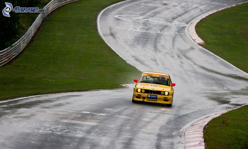 BMW, coche de carreras, veterano, carreras en circuito