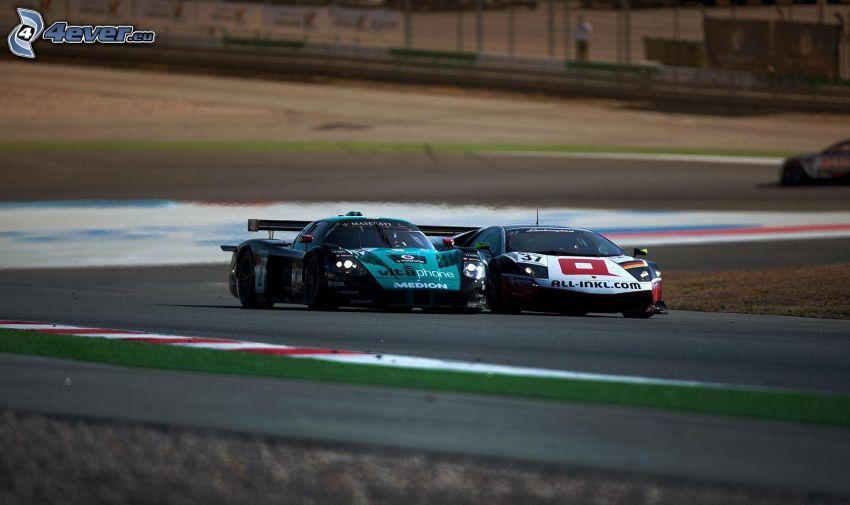 carreras, Lamborghini, Maserati MC 12, coche de carreras, carreras en circuito