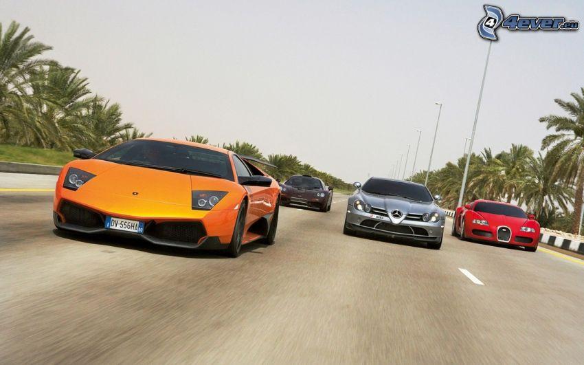 carreras, Lamborghini, Mercedes, Bugatti Veyron, acelerar