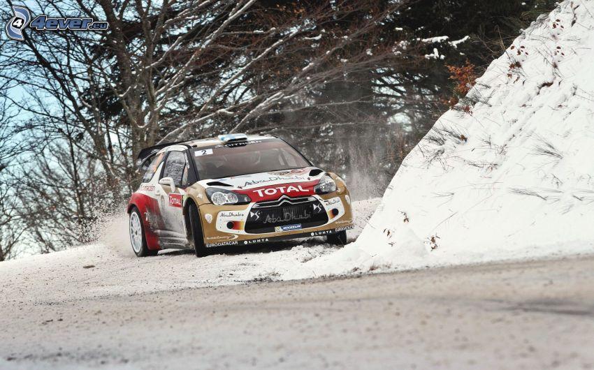 Citroën, coche de carreras, nieve